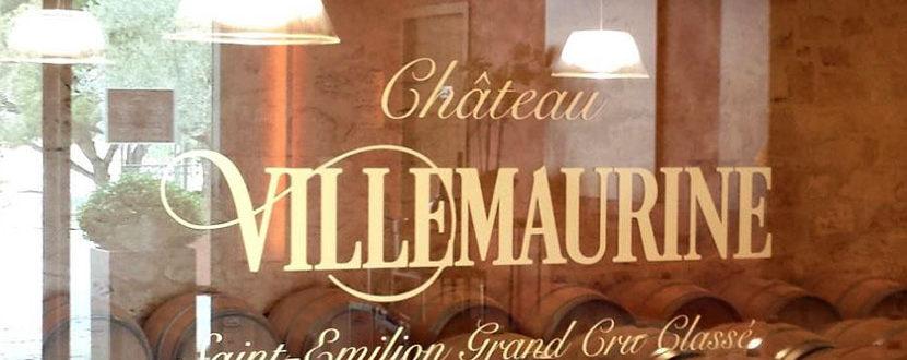 BMJ-publicité Château Villemaurine lettrage sur vitre