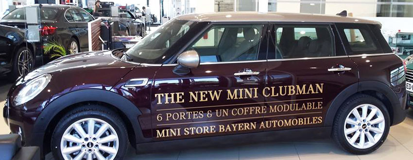 BMJ-publicité lettrage latéral The New Mini Clubman - Ministore Bayern Auto